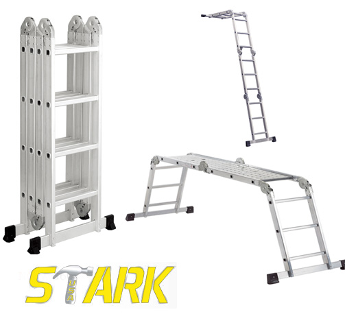 15.5' ALUMINUM FOLDING LADDER W/ 2 PLATFORMS